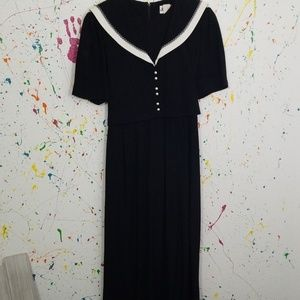 Black dress full length with nice white trim